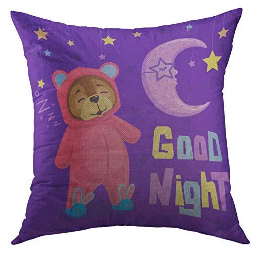�berwurf-Kissenbezug für Couch Sofa, Bett, Heimdekoration, abstrakte kindliche Cartoon-Figur, Teddybär in Pyjama gekleidet zum Schlafen mit Mond, Stern, 50,8 x 50,8 cm ()