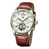 Orologi da uomo–Tourbillon automatico orologio meccanico–Roman scale–Business Series impermeabile, cinturino in pelle
