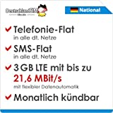 DeutschlandSIM LTE 2000 National [SIM, Micro-SIM und Nano-SIM] monatlich kündbar (9,99 Euro/Monat, 3 GB LTE mit max. 21,6 MBit/s mit flexibler Datenautomatik, Telefonie-Flat, SMS-Flat)
