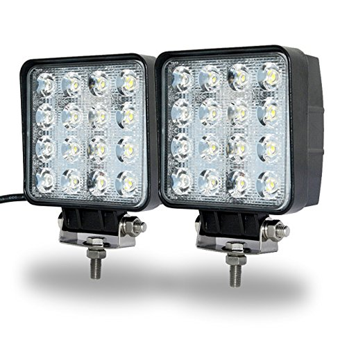 Phare de Travail,JieHe Phare de Travail à Led 48W Led Work Light Longue Portee 4x4 6000k-6500k Led Light Bar (2pcs)