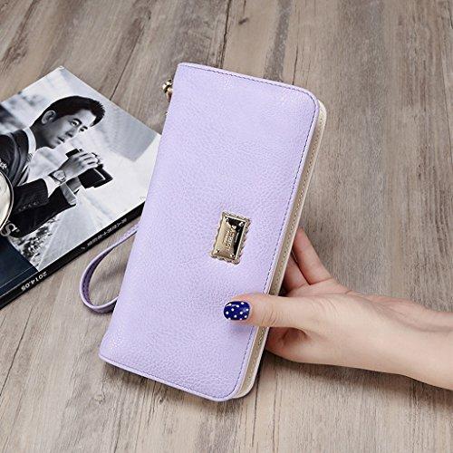 Portafoglio Femminile Lungo Tratto Di Zipper borsa Student mini telefono pacchetto multifunzione carte fatture Borsa Cartella ( colore : Rosy Red ) Viola