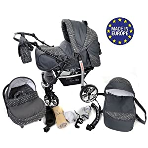Sportive X2, 3-in-1 Travel System incl. Baby Pram with Swivel Wheels, Car Seat, Pushchair & Accessories (3-in-1 Travel System, Gray & Polka Dots)   11