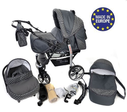 3-in-1 Travel System incl. Baby Pram with Swivel Wheels, Car Seat, Pushchair & Accessories, Grey & Polka Dots 51LlFdddGML