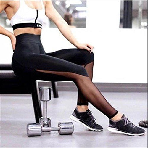 Pantalon de Sports,Tonwalk Femmes Taille haute Engrener Maigre Leggings de Patchwork Fitness/Sports/Yoga Pantalons Noir
