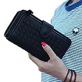 Felicove Geldbörsen Damen, Portable Long Lovely Weave Leder Brieftasche Kartenhalter Geldbörse