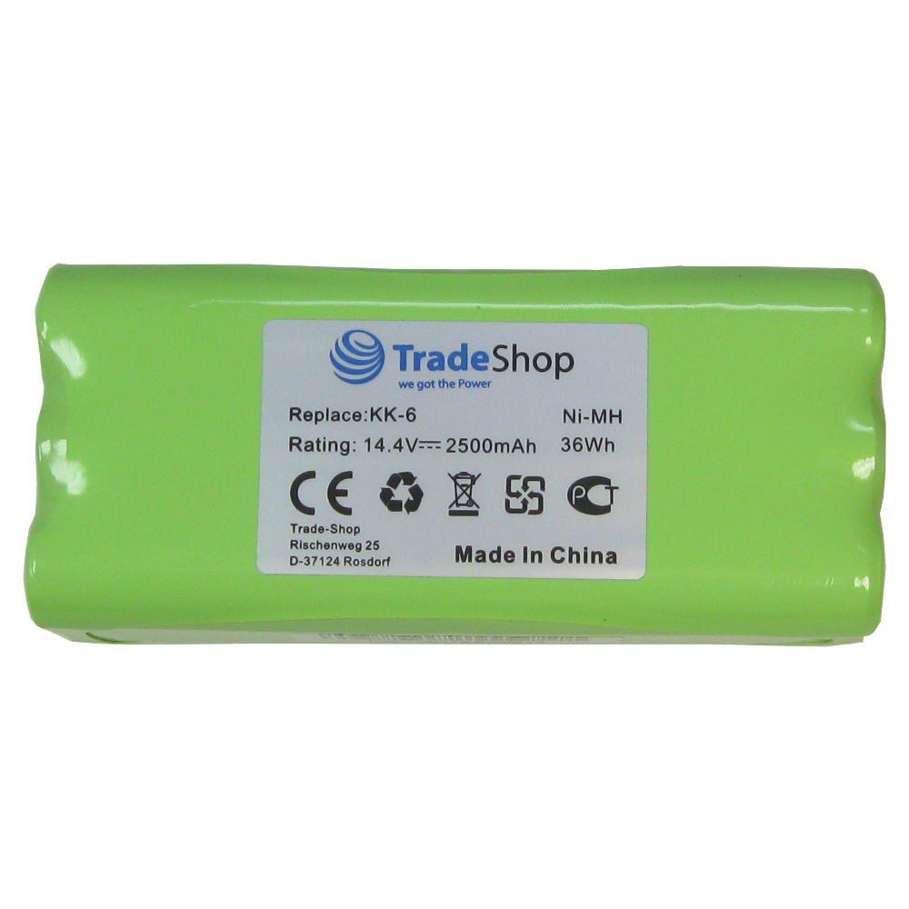 Trade-Shop Premium Ni-Mh Akku, 14,4V / 2500mAh / 36Wh für Dirt Devil Libero M606, M606-1, M606-2, M606-3, M606-4 Spider…