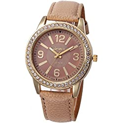 WINWINTOM Women Stainless Steel Analog Leather Quartz Wrist Watch Khaki