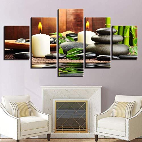 JSYC 5 Pezzi su Tela Moderni Dipinti 5 Pezzi di bambù Candele Pietre Immagini per Soggiorno Home Decor Wall Art HD Stampe Poster Lavoro