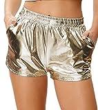 Kate Kasin Festival Damen Wet Look Sport Gym Hotpants Metallic Shorts Shiny Leggings Kurze Hose Gold
