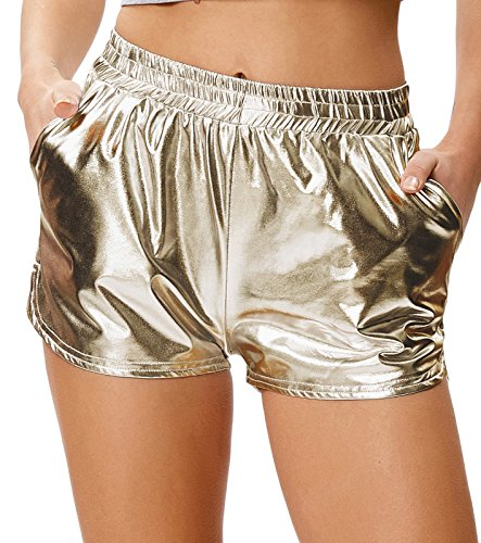 Kate Kasin Frauen Shorts Hohe Taille Yoga Sporthose Glänzende Metallic Leggings Hose Champagner (862-2) - Metallic Leggings Kostüm