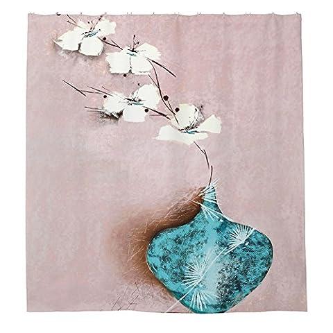 whiangfsoo Vintage Vase Polyester-Blumen-Dusche Vorhang Liner, Polyester, #9,