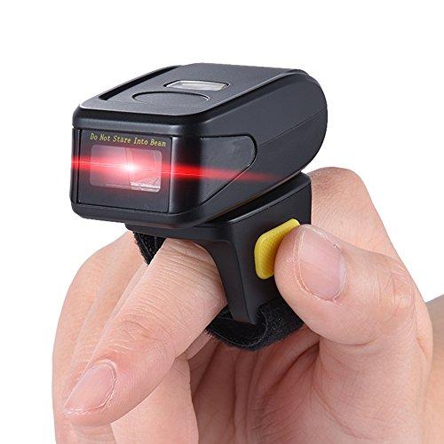 Aibecy Bluetooth 1D Barcode Scanner Tragbar Laser Handscanner Kabellos Ringfinger für Windows XP 7.0 8.0 10 IOS Android, Supermarktbibliothek Express Unternehmen Warehouse - Scanner Windows