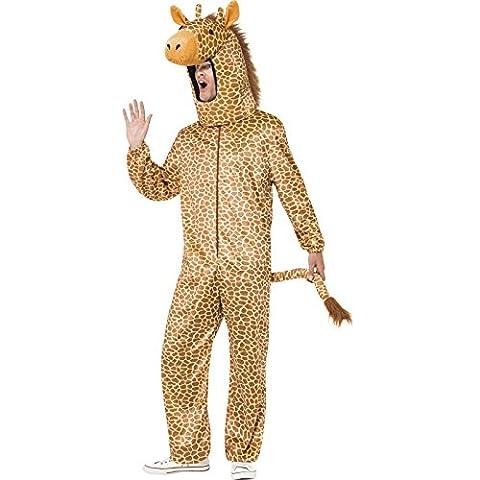Smiffys Déguisement Homme, Girafe, avec combinaison et capuche, Taille unique, Couleur: Orange, 53289