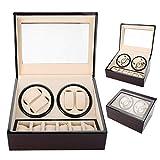 Caja de Relojes 4+6 Caja de batidos Caja de colección de relojes preciosos para hombre de cuero + tablero de fibra + joyas de color beige interiores(Rojo + blanco)