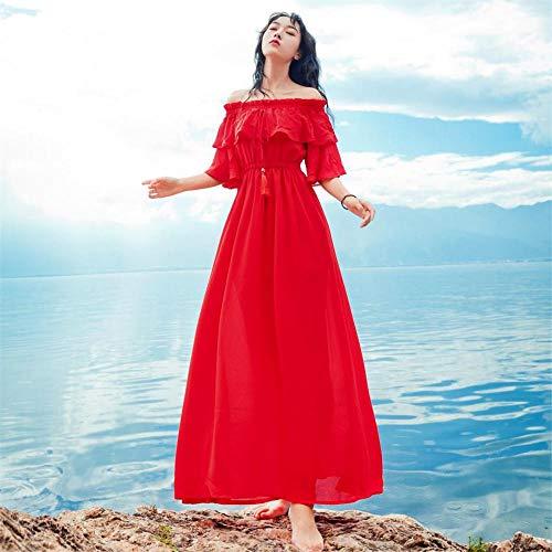 JDSXXZ Mode sexy Kleid Sommer Damen Kleid eine Schulter Zwei tragen Strand Rock rote Fee Rock schönen Urlaub Kleid Langen Rock rot L (Kleid Rote Fee)