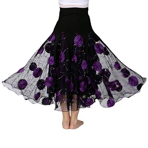 Verkauf Wettbewerb Tanz Kostüme (Wgwioo Lange Tanz Latein Rock Blumen Modern Tanz Wettbewerb Rock Party Rock Ball Zimmer Walzer Rock Frauen Rock . Deep Purple .)