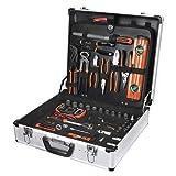 Tactix Aluminium Werkzeugkoffer gefüllt 137 tlg. für Haushalt, Werkstatt, Garage - Werkzeugkiste