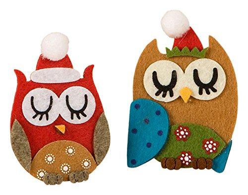 Mopec Pinzas Diseño Búhos Navideños Dormilones, Fieltro, Rojo, 2.4x5x7.5 cm, 6 Unidades