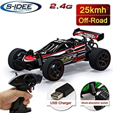 s-idee® 18134 S23211 RC Truck mit 2,4 GHz bis 25 km/h 1:20 Buggy ferngesteuertes Buggy Racing Auto rot mit 2 Batterien