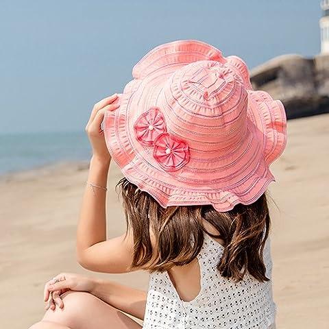 Summer Hat Can Be Folded, Along The Large Sun Helmet, Sunscreen Beach Beach Hat,F,Watermelon Red (Baby In Watermelon Kostüm)