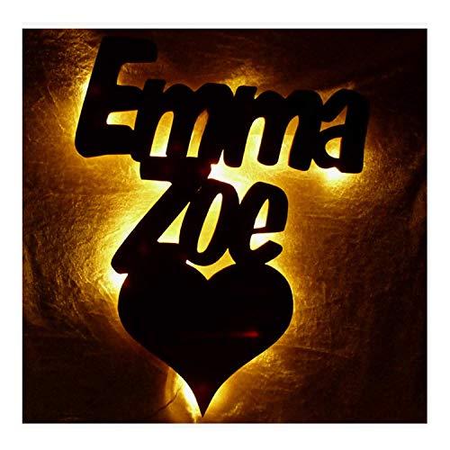 Schlummerlicht24 Led Wohn-+Zimmer Wand-Bild Schlafzimmer Deko 1 Herz Name, Geschenk mit Namen zum Jahrestag Verlobung für Sie und Ihn Freund Freundin Partner Ich liebe Dich Romantische Geschenke Datum