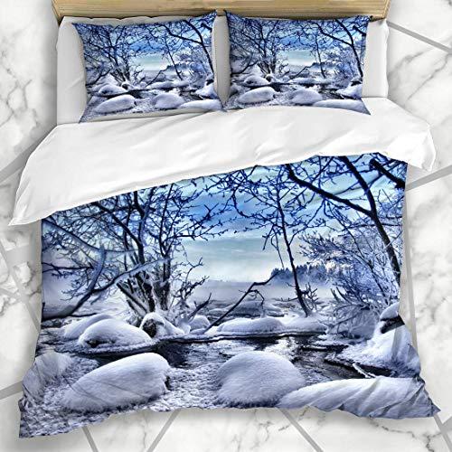 ty Finland Winter Wonders Natur Schnee Scapes Szene Baum Landschaft Wald Design Frost Mikrofaser Bettwäsche mit 2 Pillow Shams ()