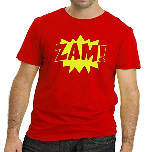 Heyuze Designer Printed Premium Quality 100% Cotton Half Sleeve Male / Men Round Neck Red T Shirt with Zam Design