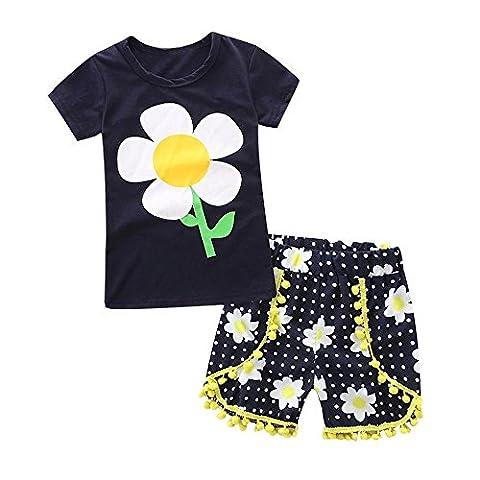 Ensemble de vêtements Bébé filles,Koly 2017 2PCS Débardeurs à manches mignonnes Bowknot + pantalons courts Ensemble d