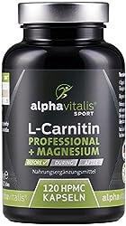 L-Carnitin Carnipure® Professional 3000 + Magnesium-Citrat - hochdosiert, vegan, ohne Magnesiumstearat - 120 Kapseln - EINWEG