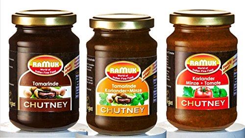Chutney - 3er Set vegan RAMUK: Tamarinde/ Tamarinde-Koriander-Minze/ Koriander-Minze-Tomate