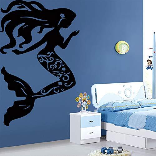 WSLIUXU Eine Schöne Kleine Meerjungfrau Wandaufkleber Dekoration Wohnzimmer Mädchen Zubehör Wasserdicht Kunst Aufkleber Lila M 30 cm X 47 cm