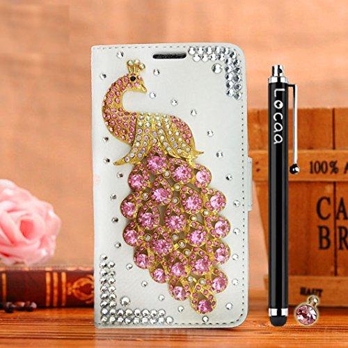 Locaa(TM) Pour Apple IPhone 7 Plus IPhone7+ (5.5 inch) 3D Bling Paon Case Coque Fait filles Cuir Qualité Housse Chocs Étui Couverture Protection Cover Shell Romantique [Paon 2] Rose - Paon Perle Blanc - Paon Rose clair