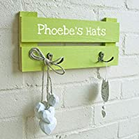Kids Personalised Coat Rack - 2 Hooks - Colour Lime Green