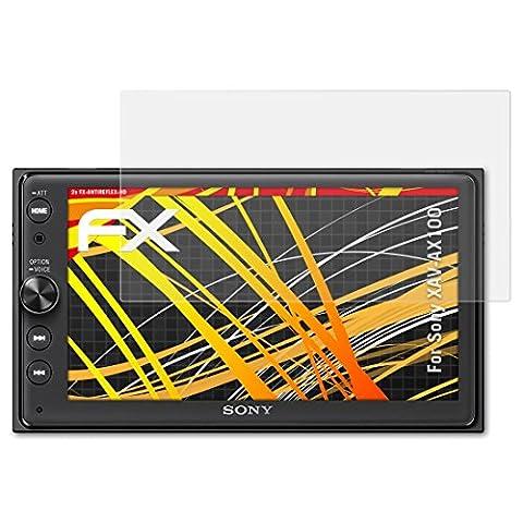 Sony XAV-AX100 Displayschutzfolie - 2 x atFoliX FX-Antireflex-HD hochauflösende entspiegelnde Schutzfolie Folie