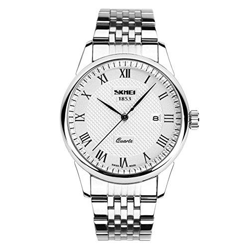 alps men's classic calendar silver stainless steel analog quartz wristwatch( silver)