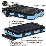 wasserdichte 10000mAh Solar Power Bank, Solar Ladegerät, Externer Akku mit superhelle Taschenlampe, Akku pack für Handy (schwarz-blau) - 3