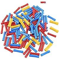 Erduo 100 pcs. Terminales termorretráctiles Mixtos. Tubo de Manga de Soldadura a Prueba de Agua. Kit de Conectores aislados a Tope eléctricos - Rojo + Azul + Amarillo