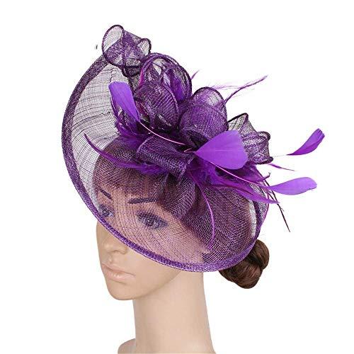 Eleganter Blumenhut Frauen Hut Braut Feder Haarspange Zubehör Kopfschmuck Tee Party Hochzeit Damen Tag (Farbe : Lila) - Rennen-tag-tee