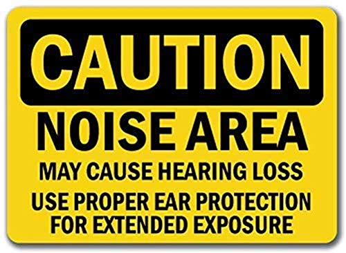 "mengliangpu8190 Noise Area Hearing Loss Ear Protection Required - Sign, Metal Warning Signs Private Property,Danger Safety Sign Plaque,Gate Sign,12"" x 18\"" Aluminum Sign, Tin Sign"