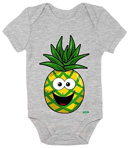 HARIZ Baby Body Kurzarm Ananas Lachend Frucht Süß Plus Geschenkkarten Bleistift Grau 0-3 (Keine 2 Bleistift Kostüm)
