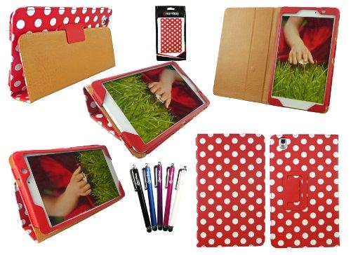 Emartbuy® Samsung Galaxy Tab Pro 8.4 Zoll Tablet (T320 T321 T325) Packet Mit 5 Eingabestift + Polka Dots Rot/Weiß Wallet Etui Hülle Case Cover mit Ständer