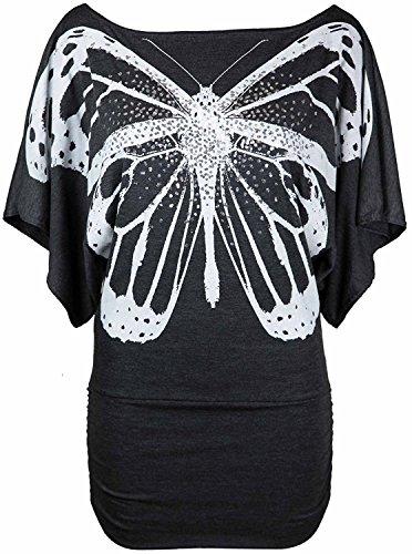 Femmes hors épaule Sequin papillon batwing Side Rassemblé Top EUR Taille 36-54 Charbon