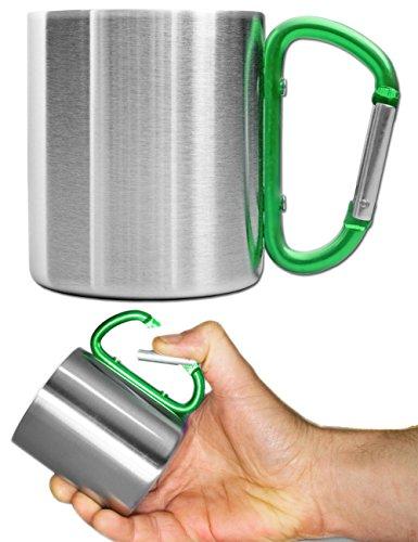 Outdoor Saxx® - Camping-Tasse, Outdoor-Becher, Metall-Becher, 250 ml mit geschraubtem Karabiner-Griff, Edelstahl, Wandern, Trekking, Arbeit, grün