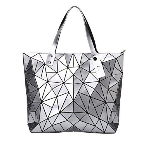 Borse A Tracolla Geometriche In Pelle Plaid Artigianale In Pelle PU Silver