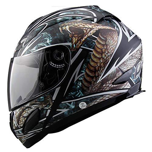 WWtoukui Casco Cool Snake, Casco Integrale Moto personalità Creativa, può Indossare Occhiali off-Road Casco, Tappo Protettivo Certificato DOT,M:53~54cm