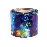 Gankmachine 1M Gradient Starry Sky Nail Foil Blue Holographic Paper Decals Decor Nail Art Sticker Decor Wraps
