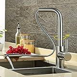 CZOOR Küchenarmatur Vollkupfer kalt heiß Waschbecken ziehen Wasserhahn kann revolvierenden Wasser Tank Wasserhahn