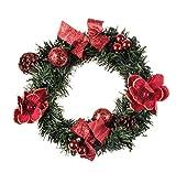 """Clever Creations Künstlicher Weihnachtskranz mit Tannenzapfen und roten Deko-Elementen - perfekte Größe für die Haustür - 10"""" (25,4 cm) Durchmesser"""