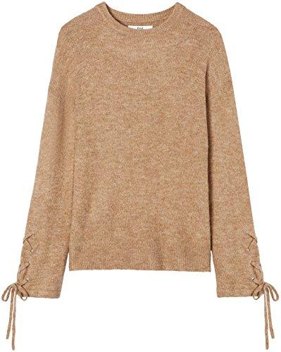 FIND Pullover con Maniche Stringate Donna Marrone (Camel)