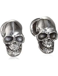 King Baby Men's 925 Sterling Silver Skull Ball Post Cufflinks